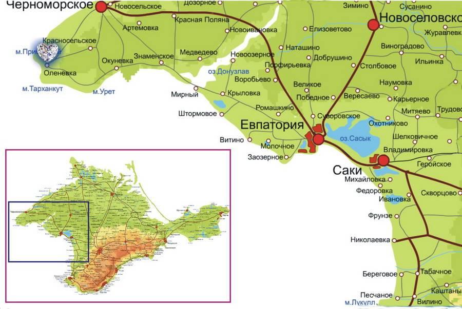 Тарханкут на карте Крыма