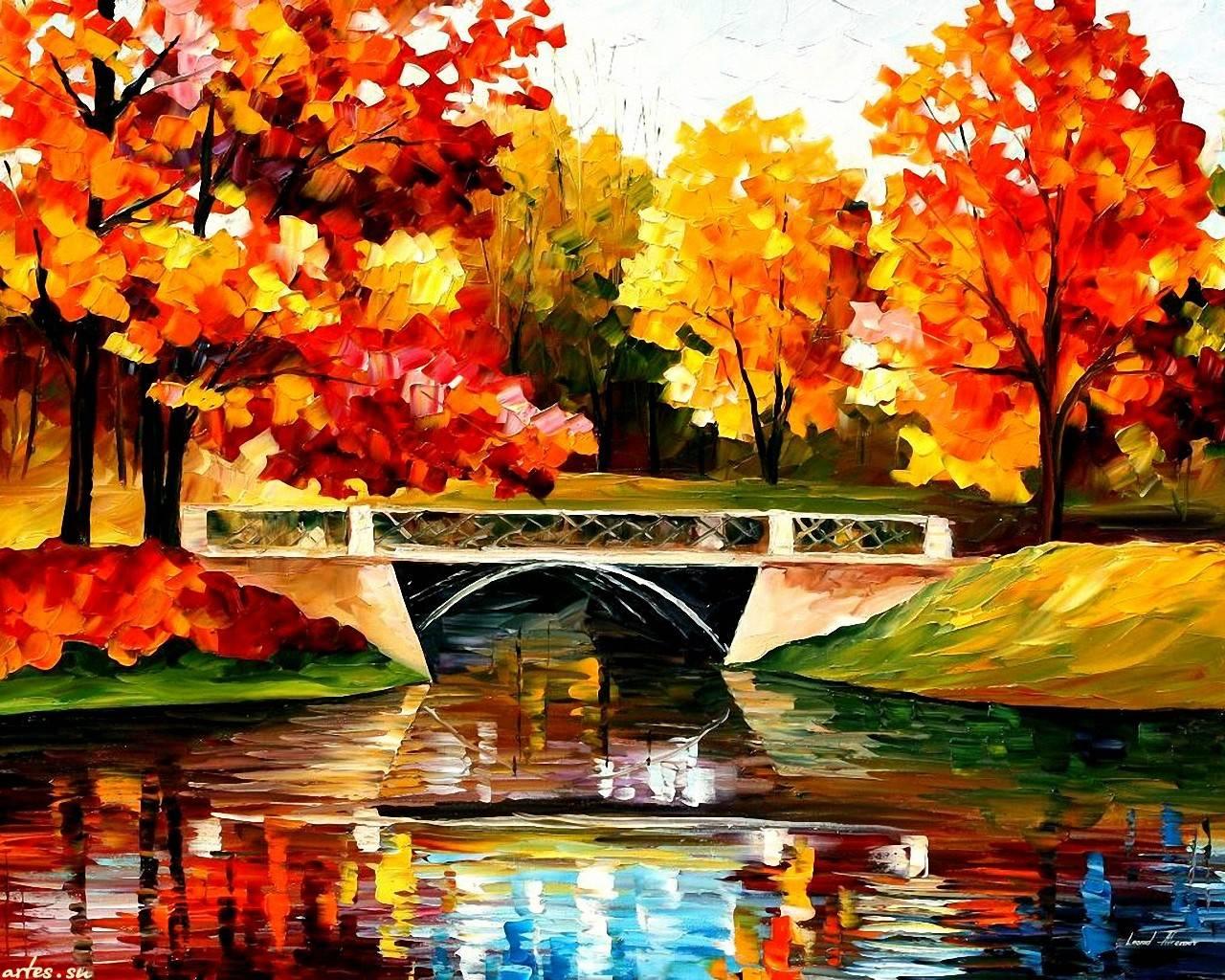 Рисуем золотую осень красками картинки 5
