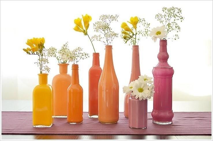 оранжевый, желтый, розовый, декоративные бутылки дял декора интерьера