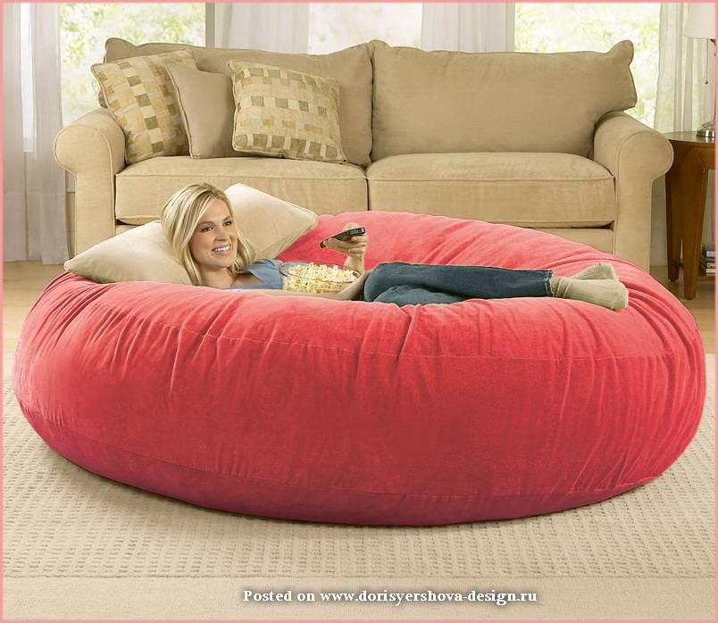 розовый огромный пуф