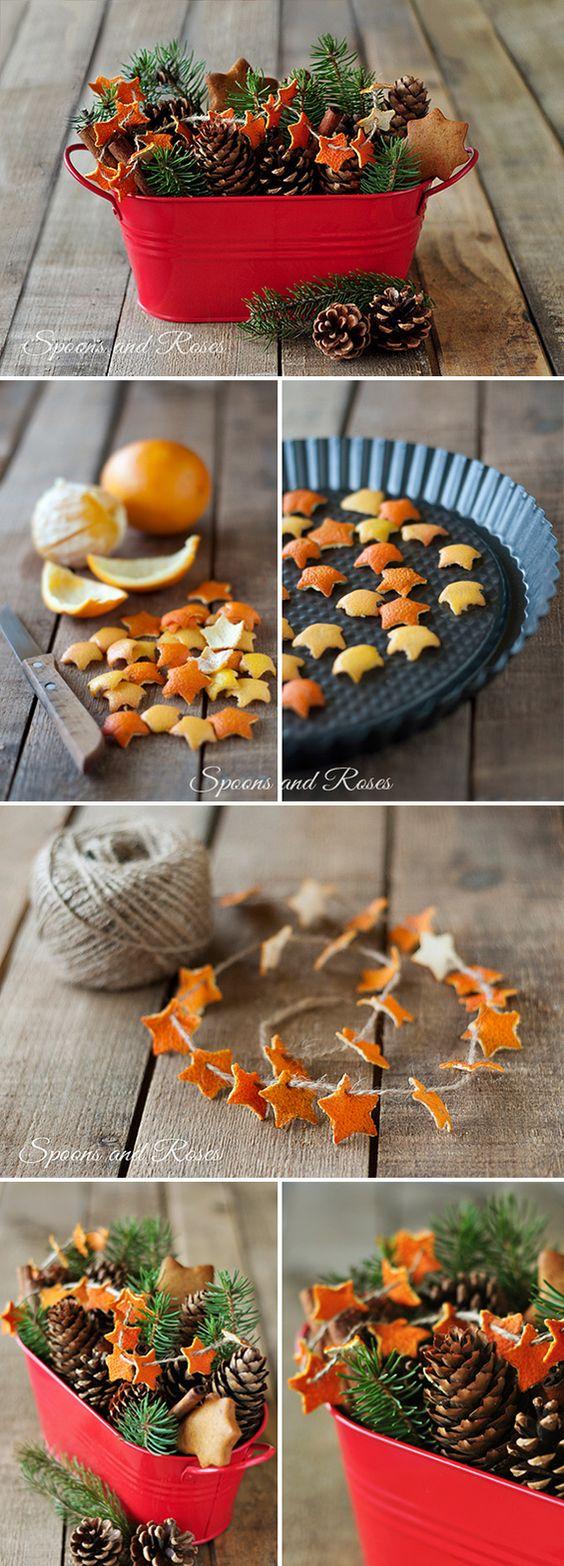 гирлянда из корок мандарина, как сделать, быстро и просто