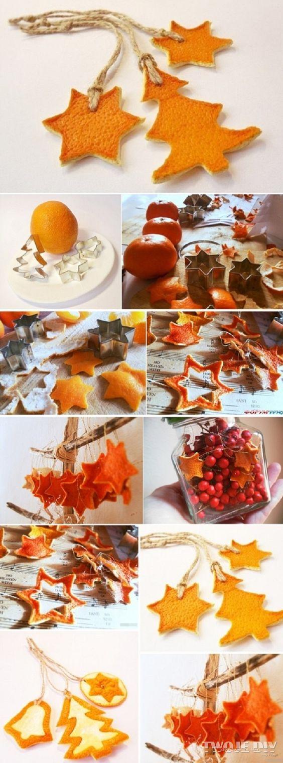 идеи из корочек цитруса для рождества и нового года, декор